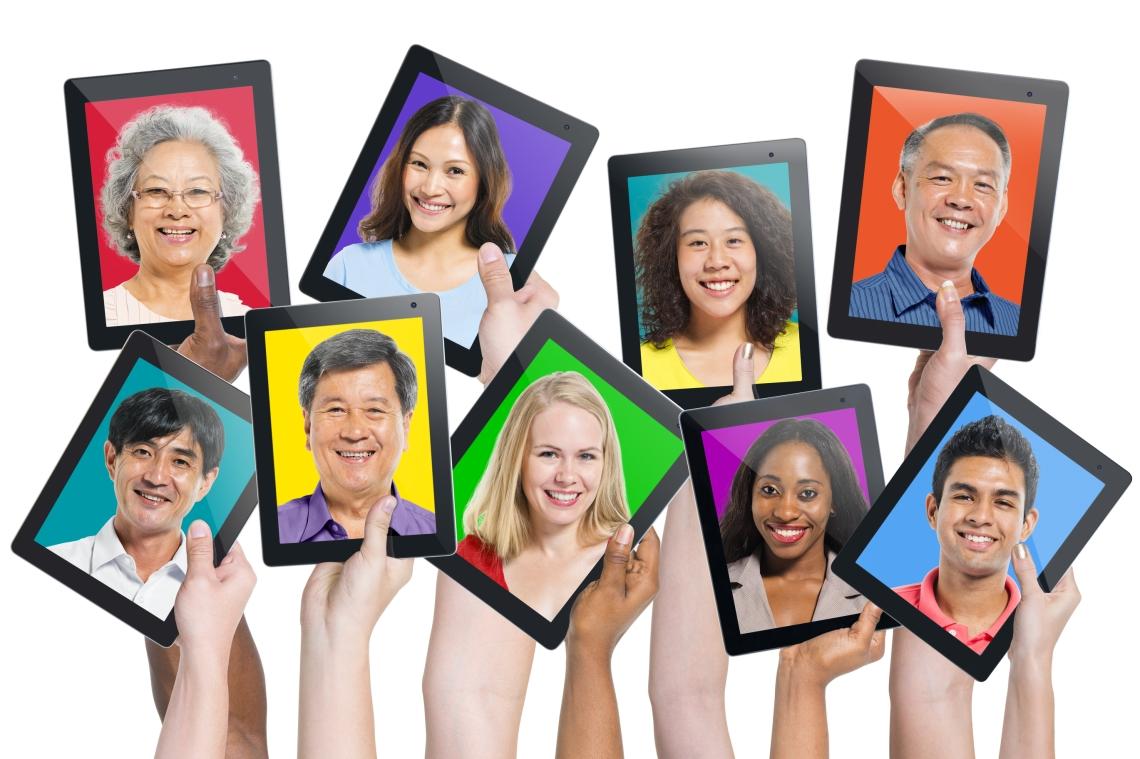 Multi-ethnic casual people on the screen